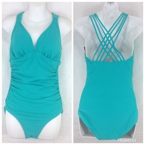 Mossimo One Piece Swimsuit Cross Straps Turquoise